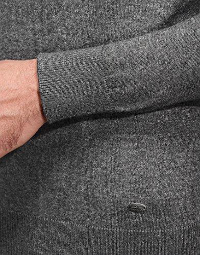 Vincenzo Boretti Herren-Pullover Steh-Kragen slim-fit tailliert Strick-Pullover einfarbig Baumwolle-Mix edel elegant leicht Fein-Strick für Business oder Casual Dunkelgrau