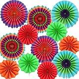 Blulu 12 Piezas de Abanicos de Papel Colgantes de Fiesta Coloridos para Decoraciones de Fiesta de Cinco De Mayo Cumpleaños Carnival
