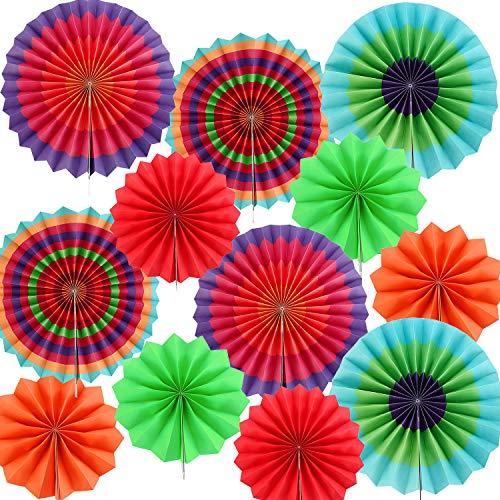 12 Stücke Papier Fächer Bunte Fiesta Hängen Papier Fächer für Cinco De Mayo Geburtstag Karneval Party Dekorationen (Mayo De Party-dekorationen Cinco)