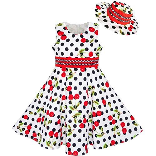 Kleid Schwarze Kinder Kleine (Mädchen Kleid Hut Weiß Schwarz Punkt Kirsche Tanzen Gr. 116-122)