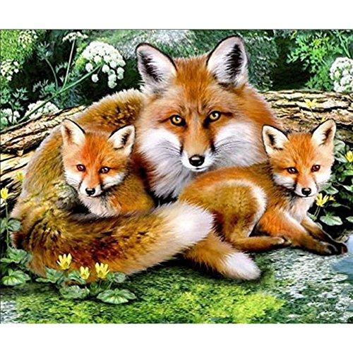 Mumustar DIY 5D Diamond Painting Kits Animals Drill Rhinestone Pasted Mosaic Embroidery Cross Stitching Kits Owl Fox Flowers Ladybug Pattern Art Craft Mural Home Wall Decor (Fox)