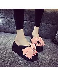 La moda verde negro gran lazo con ángulo de inclinación inferior grueso verano hembra muffin espiguilla zapatillas de playa,36 pink [7,5 centímetros]