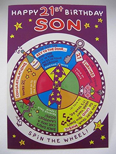 rehen Sie das Rad Spiel Happy 21. Birthday Son Glückwunschkarte zum Geburtstag (Happy Halloween Party-spiele)