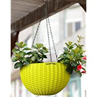 Home Decor Stuff Hanging Planters Plastic Pots with Hanging Chains (Pack of 3) Green Color