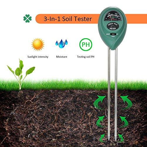 4 in1 pH-Wert Messer LCD Messgerät Pflanze Blumen Gras Feuchtigkeit Boden Tester
