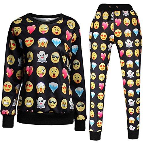 sfpong Emoji-3D schwarz Bedruckte Funny Shirt Emoticons Sweatpants/Shirt/Anzug Jogger, Schwarz, GOTZ001c -