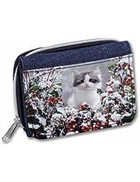 Winter Snow Kitten Girls/Ladies Denim Purse Wallet Christmas Gift Idea