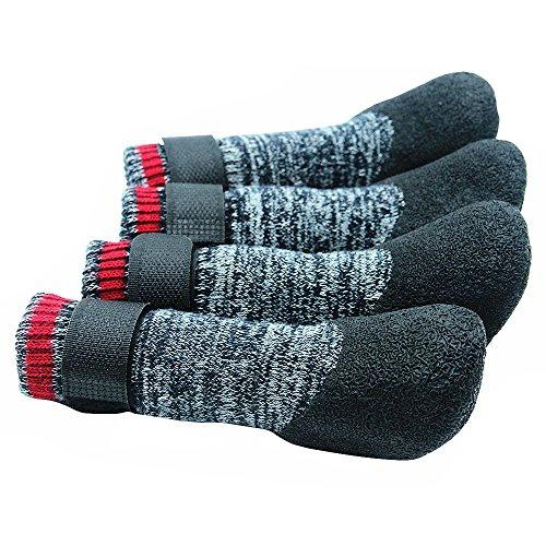 SCENEREAL CO. Calcetines antideslizantes de goma suela de protección impermeable con correas de velcro, botas de control de tracción, M