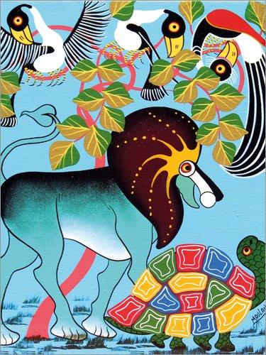 Posterlounge Forex-Platte 100 x 130 cm: Der Wettlauf zwischen Löwe und Schildkröte von Maulana/Tanzania Art & Licensing