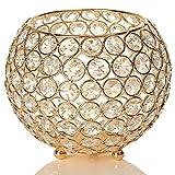 VINCIGANT Dorado Portavelas De Ofrenda Cristal Metal Porta Velas para Boda Romántica Cumpleaños Fiesta Decoración 15 cm