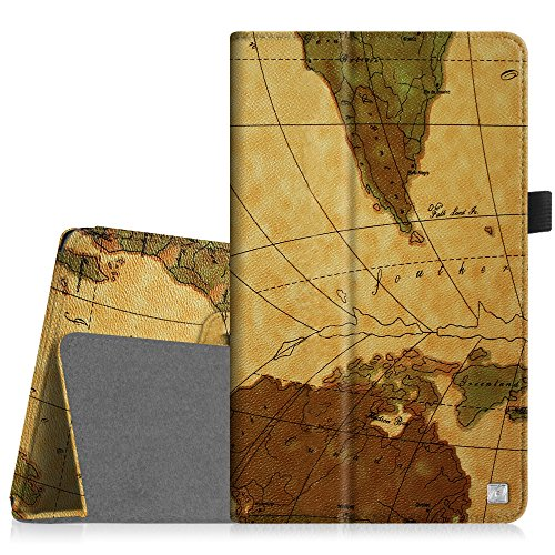 Dell Venue 8 Pro Hülle Case - Fintie Folio Case Schutzhülle Etui Tasche mit Stylus-Halterung für Dell Venue 8 Pro 5000 Series/New Venue 8 Pro 3000 Series (2014) Windows 8.1 Tablet, Landkarte Braun