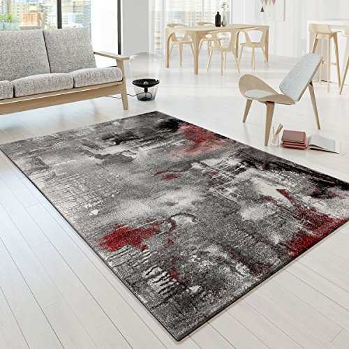 Designer Alfombra Modern Arizona Lienzo Aspecto Rojo Crema Color Gris jaspeado pelo corto, polipropileno, rojo, 160 x 230 cm