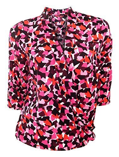 marks-spencer-pink-red-black-graphic-print-blouse-with-cross-over-front-size-14