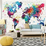 decomonkey | Fototapete Weltkarte bunt Ziegel weiß 400x280 cm | Tapete Büro | Wandbild | Bild | Fototapeten | Tapeten | Wandtapete | Wanddeko |Wand Dekoration Schlafzimmer Wohnzimmer | Lankarte Kontinente Welt Karte Steinwand Steinmauer