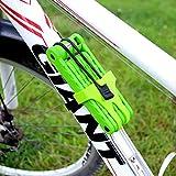 Tofern Faltschloss Fahrradschloss 8 Segmente faltbar tragbar leicht Fahrrad Rennrad, Grün
