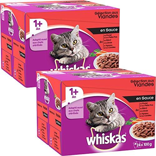 Whiskas Freschezza Bustine alle carne e pesce  per gatto, 48 bustine, In salsa: manzo, pollo, tacchino, agnello
