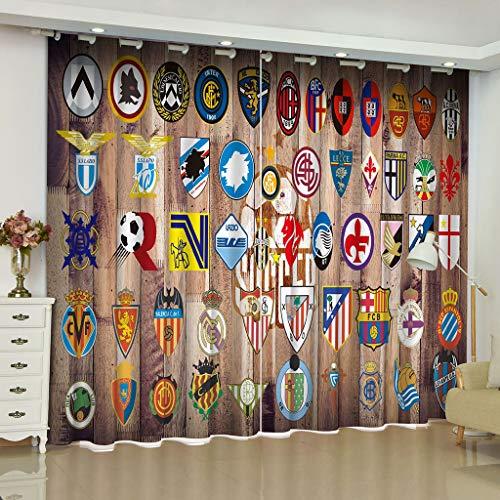 AICL Vorhänge 3D Fußball Logo Print Blackout Wndow Vorhänge Mit Hook Up/Römischen Kreis Für Wohnzimmer Kinder Jungen Zimmer Vorhänge 2 Panel W203cm H241cm - Jungen Vorhang-panels