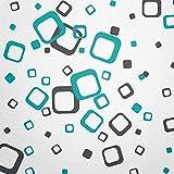 WANDfee® Wandtattoo 60 Vierecke FARBWUNSCH Farbe dunkelgrau türkis zweifarbig bunte moderne Wanddeko selbstklebende retro Cubes Quadrate Wandaufkleber Wandsticker Fliesenaufkleber Dekoration Deko Aufkleber