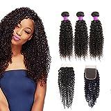 vrai cheveux tissage bresilien avec closure Kinky curly hair en lot pas cher lot de cheveux humain (10 12 14+10Inch)