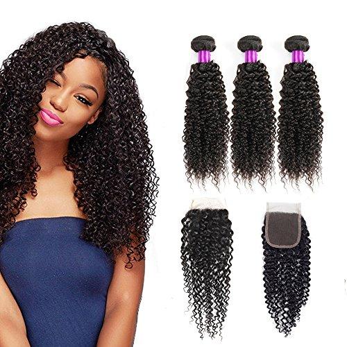 Brazilian kinky curly virgin hair weave human hair bundles with closure natural colour hair extensions(10 12 14+10 inch)