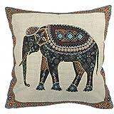 Luxbon-Cotton Linen Cushion Cover Sofa Chair Seat Throw Pillow Case Home Decoration Pillows 18 inch 45 cm Uniquel Gift Idea-Tapestry Jacquard Retro Indian Elephant