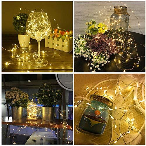 Prevently 5M 50 LEDs Kupferdraht Lichterkette Drahtlichterkette Lichterdraht Batterie-betrieben String Lights Schnur Lichter für Weihnachten Party Garten Hochzeit Baum Terrasse (Colour B)