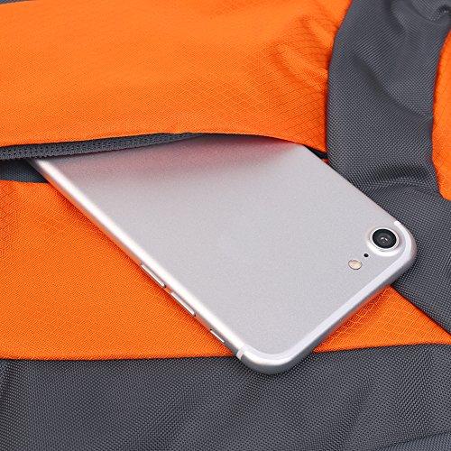 50L Rucksack Reise Outdoor Rucksack Wasserdicht / Trekking Rucksack / Camping Rucksack / Packbar Langlebig zum Klettern, Bergsteigen, Angeln, Camping, Radfahren Reisen Orange 50L