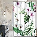 GWELL Blumen Blatt Duschvorhang Wasserdicht Anti-Schimmel inkl. 12 Duschvorhangringe für Badewanne und Duschwanne Muster-C 180x180cm