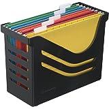 Jalema Atlanta Res - Caja reciclada para archivos (incluye 5 archivos de varios colores), color negro, A658026998