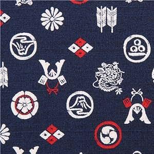 Tissu Kokka Dobby structuré bleu foncé avec des symboles asiatiques