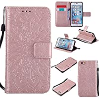 iPhone 6 / iPhone 6S 4.7 Inch Case, Dfly Premium Soft PU Leather Embossed Mandala Design Kickstand Card Holder Slot Slim Flip Protective Wallet Cover for iPhone 6 / iPhone 6S 4.7 Inch , Rose Gold