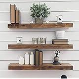 Genuine Decor 18 Inch Floating Shelves for Wall Set of 3, Rustic Wall Mounted Ledge Shelf for Bathroom, Bedroom, Living Room,