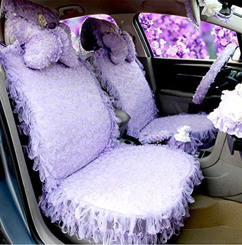 GAOFEI Sogno rosa alta qualità Ladies carina fumetto seggiolino auto copertura sedile pizzo donne speciali auto collo cuscino auto accessori , purple