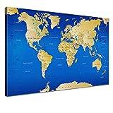 LANA KK Leinwandbild - Weltkarte Graphit - in 120 x 80 cm, einteilig, Premium Qualität, mit Korkrückwand, deutsch