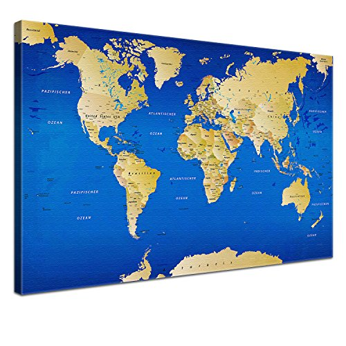 LanaKK - Mappamondo con parete posteriore in sughero, bella tela con immagine impressa su cornice, pannello d'affissione per vagabondi nell'anima, colore: Blu, blu, 100 x 70 cm, 1 pezzo