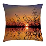 Kaixin J Nature Decor Throw Pillow Cushion Cover, Lake Sunset with Long Reeds Romantic Botanical Ombre Like Scenery Photo Image, Decorative Square Accent Pillow Case, 18 X 18 inches, Multicolor