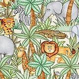 Quilting Treasures Cremefarbener Stoff mit Elefant Nashorn