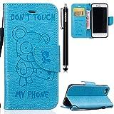HUDDU Blau Schutzhülle Handyhülle Don't Touch My Phone Bear Muster PU Leder Tasche Slim Wallet Case Flip Hülle Kartenfach Magnetic Stand Cover für iPhone 7/8