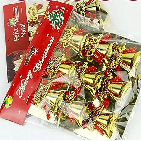 YUYU Arcos de campana de Navidad campanas oro ornamentos del árbol de Navidad decoraciones 12/Pack