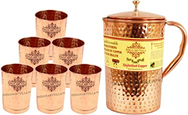 IndianArtVilla Copper Jug Pitcher with Glass Tumbler, Drinkware Set