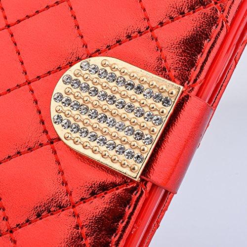 iPhone 6 Plus / 6s Plus Coque, SsHhUu Luxe Bling brillant Premium PU Cuir Bling diamant bouton Pochette Stand Flip Protecteur Étui Housse Case Cover pour iPhone 6 Plus / 6s Plus (5.5 pouce) Or Rouge