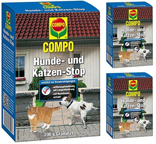 Compo Hunde- und Katzen-Stop Fernhaltemittel Gardopia Sparpakete + Zeckenzange mit Lupe (3 x 200 g)