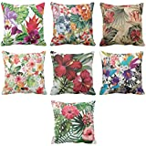 YaYa cafe Cotton Printed Antique Beautiful Floral Throw Cushions Pillow Covers (24x24-inches,Grey) - Set of 7