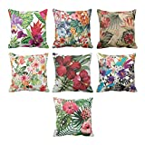 TYYC New Year Gifts for Home Antique Beautiful Flower Floral Pattern Printed Cushion Covers Set of 7 - 16x16 inches