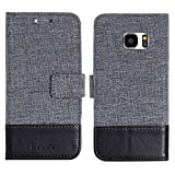 muxma Samsung Galaxy S7 Textilgewebe Kunstleder Tasche Schutzhülle Handyhülle Visitenkartenfach und Standfunktion (Schwarz)
