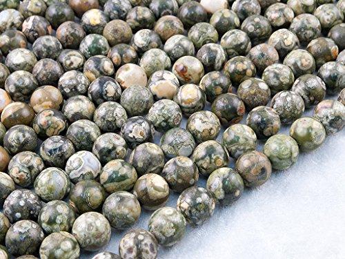 Beads Ok, DIY, Rhyolite Jaspis, Natürlich, 6mm, Edelsteinperlen, Halbedelstein Perle Rund Kugel/Plain Round Bead, über 38cm Ein Strang. (Bitte Klicken, Um Weitere Optionen anzuzeigen.) (Perlen-roller Runde)