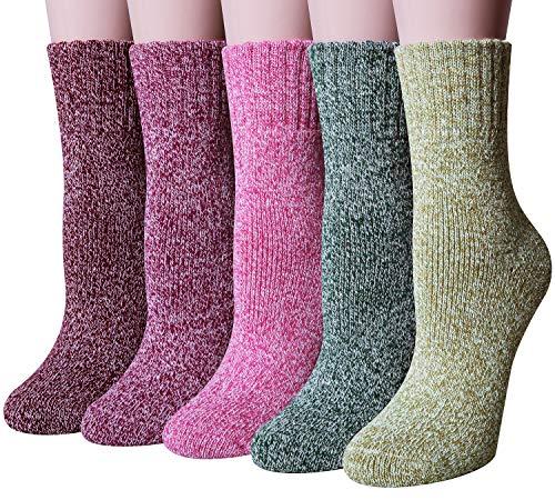 Chalier 5 Paar Damen Winter Wollesocken, Super Weiche Dicke Warme Socken für Business und Freizeit- Einheitsgröße, Farbe: Mix3
