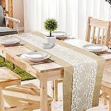 10 STK Jute Tischläufer mit Spitze 30 cm breit Sackleinen Vintage Tischband für rustikale Hochzeit Fest Party Feier Bevorzugte Dekorationen - 3