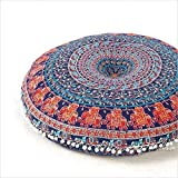 Thisgorgeous screen printed floor pillow is a great way to add seating that's versatile and colorful. Rajasthani artisans fashion this bohemian style floor pillow from the mandala and medallion inspired tapestries that we also carry online. Thispil...