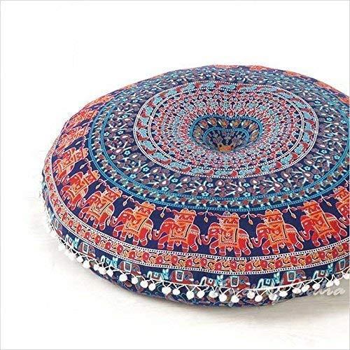 "Eyes of India - 32"" Azul/Rojo Bohemio India Redondo Suelo Meditación Funda de Almohadón Boho Asiento Cama para Perro Mandala Hippie Cojín Sofá Colores Decorativos Manta Funda"